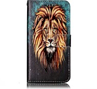 For LG G6 Case Cover Lion Pattern Shine Relief PU Material Card Stent Wallet Phone Case