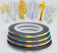 50pcs / box 2mm 20m моды радуги игристых фольги полоса ленты лента линии ногтей искусство DIY красоты лазер серебряный блеск фольги