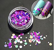 1bottle мода романтический украшение ногтей искусство круглый ломтик блестка блестка ломтик красочный лазер дизайн p14