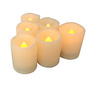 6 PCSFlameless Votive Candles with Timer LED Votives Battery Operated Votives with Timer Realistic Flickering Long Battery Life 400 Hour / CR245