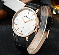 Men's Fashion Watch Quartz Leather Band Black Black White Gold