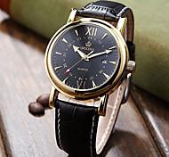 Men's Fashion Watch Quartz Leather Band Black Brown Black White