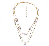 Women's Layered Necklaces Circle Chrome Unique Design Personalized Blushing Pink White Jewelry For Gift Outdoor 1pc