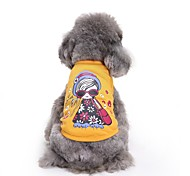 Cat Dog Shirt / T-Shirt Vest Dog Clothes Summer Princess Cute Fashion Casual/Daily  Lady Girl Yellow Cotton Pet Clothes