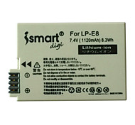 Ismartdigi New LPE8 7.4V 1120mAh Camera Battery for Canon LPE8 LP-E8 EOS 700D 650D 600D 550D