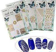1pcs New Fashion Colorful Pattern Design Nail Art 3D Sticker Mixed White&Gold Creative Decoration BP211-216