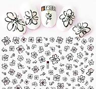1pcs Fashion Black Flower Decoration Beautiful Flower Design Nail Art 3D Stickers For Nail DIY Beauty F080