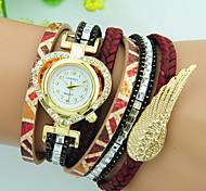 Women's Quartz Rhinestone PU Band Heart Angel Wing Bracelet Watch