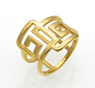 Fashion Personality Great Wall Pattern Titanium Steel Hollow 18K Gold Ring For Women