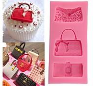 Random Color Fashion Bags Fondant Chocolate Mold Silicone Mold Fondant Cake Decoration Molds