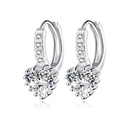 XU Women Romantic Heart-shaped Diamond Earrings