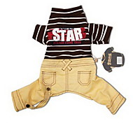 Dog Clothes/Jumpsuit Dog Clothes Casual/Daily Stripe Khaki