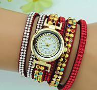 Women's Bracelet Watch Quartz Rhinestone Leather Band Bohemian Bracelet Watch