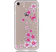 Para Apple iphone 7 7 mais 6s 6 mais material de borracha de relevo de padrão de flores de borboleta não funciona na caixa do telefone