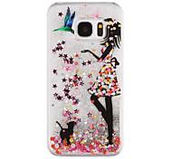 For Samsung Galaxy S8 Plus S8 Phone Case Girl Pattern Flowing Quicksand Liquid Glitter Plastic PC Materia S7 edge S7