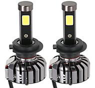 Kkmoon paire de h7 dc 12v 40w 4000lm 6000k led phare kit lampe ampoules