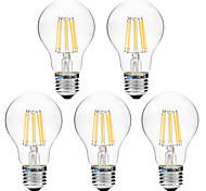 8W Bombillas de Filamento LED A60(A19) 8 COB 600 lm Blanco Cálido Blanco V 5 piezas