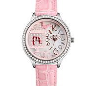 Women's Fashion Watch Quartz Leather Band White Green Pink