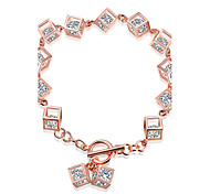 Lucky Doll Women's Chain Bracelet Fashion Sterling Silver Zircon Rose Gold Plated Square Jewelry For Birthday Gift Valentine Christmas Gifts 1 pc