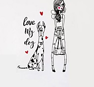 Dog & Beautiful Girl Cartoon Vinyl Wall Stickers Love Hearts Love My Dog Quote Wall Decals Home Decor For Kids Living Room Bedroom