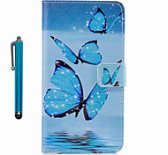 Для случая крышка картины полный корпус с стилусом бабочка твердая кожа pu для яблока ipod touch 5 touch 6
