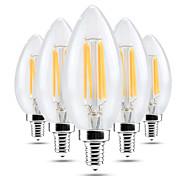 4W LED лампы в форме свечи C35 4 COB 300-400 lm Тёплый белый Холодный белый Диммируемая Декоративная AC 220-240 V 5 шт.