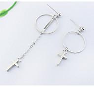 Drop Earrings New Mismatching Asymmetry Earrings Personalized Copper Geometric Cross Shape For Daily Women Party Gift Jewelry