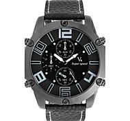 Per uomo Orologio alla moda Creativo unico orologio Cinese Quarzo Quadrante grande Pelle Banda Fantastico Nero