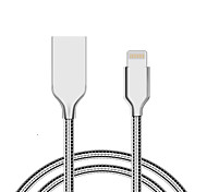 JDB MFI Lightning 8P Zinc Alloy all Metal Spring Wire Sync Data Charger USB Cable for iPhone 7 6s 6 Plus 5 5s iPad 4 Mini 2 3 Air 2