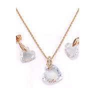 Жен. Серьги-гвоздики Ожерелья с подвесками Цирконий Богемия Стиль Позолота В форме сердца Назначение Для вечеринок Свадебные подарки