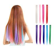 клип в одной части наращивания волос синтетические 9 цветов 22inch прямые розовые зеленые фиолетовые синие блондинки красные волосы штук