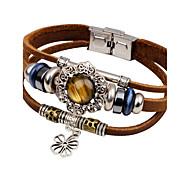Муж. Кожаные браслеты Бирюза Мода Винтаж Кожа Бирюза В форме цветка Загар и защита от солнца Бижутерия Назначение Повседневные На выход