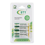 Bateria Recarrgável BTY 1350mAh AAA Ni-MH  (Conjunto de 4)