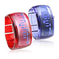 Pair of Bracelet Design Future Blue LED Wrist Watch - Blue & Red