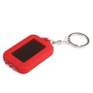 태양 전원 공급 하얀 빛 LED와 UV 3 주도 키 체인 손전등 (적색)
