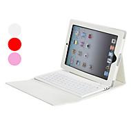 iPad 2/3/4 İçin Silikon Bluetooth Klavye ile Stand ve PU Deri Kılıf (Beyaz)