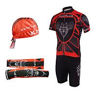 vélo costumes salopettes avec foulard sur la tête et chauffe-bras (rouge et noir)