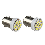 BA9S 8x1206 SMD wit licht led lamp voor auto dashboard / trunk-lampen (2-pack, DC 12V)