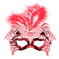 Venetian Feather Top Half Mask with Love LED Flashing Light for Masquerade Party