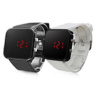 Pair of Silicone Sports Style Red LED Wrist Watch (Black and White)