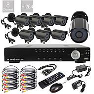 8CH D1 in tempo reale H.264 600TVL alta definizione CCTV DVR Kit (8pcs impermeabile Giorno Notte Telecamere CMOS)