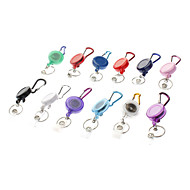 Mousqueton porte-clefs avec sangle en nylon rétractable (couleur aléatoire)