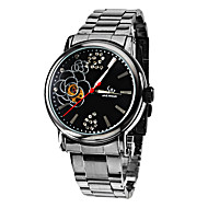 Women's Flower Pattern Black Dial Steel Analog Auto-Mechanical Wrist Watch (Black Band)