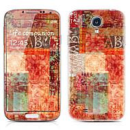 Letter Pattern Voor-en Achter Protector Stickers voor Samsung Galaxy S4 I9500