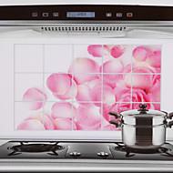 75x45cm Pink Rose Pattern óleo à prova de à prova de água quente à prova de cozinha adesivo de parede