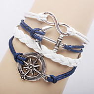 Women's Multilayer Alloy Anchor Infinite Charms Handmade Leather Bracelets Jewelry Christmas Gifts