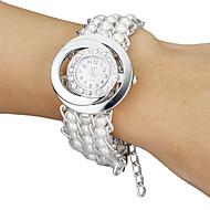 Diamante manopola rotonda perla del quarzo della fascia del braccialetto di vigilanza analogica delle donne (bianco)