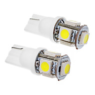 2 piezas T10 1.5W 5x5050SMD 100-120LM 6000K Cool White LED Light Bulb (12V)