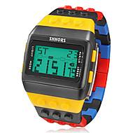 Men's Watch Sports Block Bricks Style LCD Digital Colorful Plastic Band