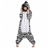 Kigurumi Pajamas Zebra Leotard/Onesie Halloween Animal Sleepwear White Patchwork Polar Fleece Kigurumi Unisex Halloween